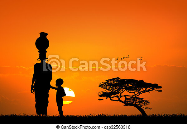 Enfant femme paysage africaine enfant femme paysage - Dessin paysage africain ...