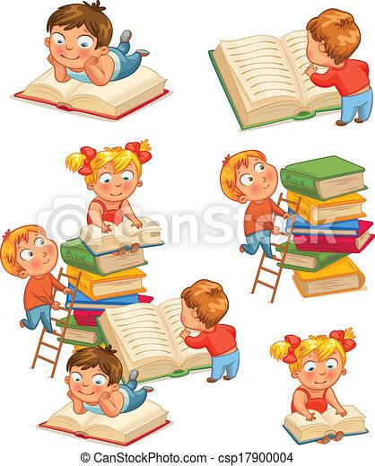 enfants, bibliothèque - csp17900004