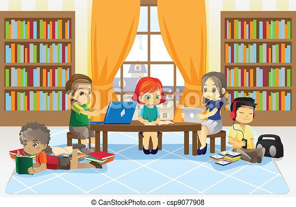 enfants, bibliothèque - csp9077908