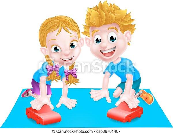enfants jouer, voitures - csp36761407