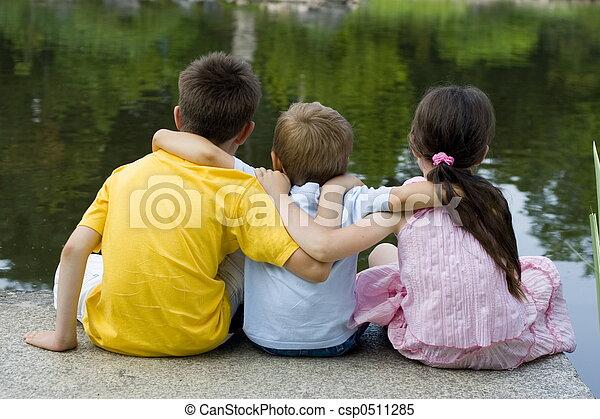enfants, lac - csp0511285