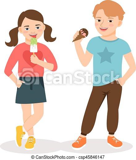 enfants mangeant  dessin anim u00e9  glace mignon  manger Comment Faire Une Glace Une Glace a La Vanille AU Chocolat