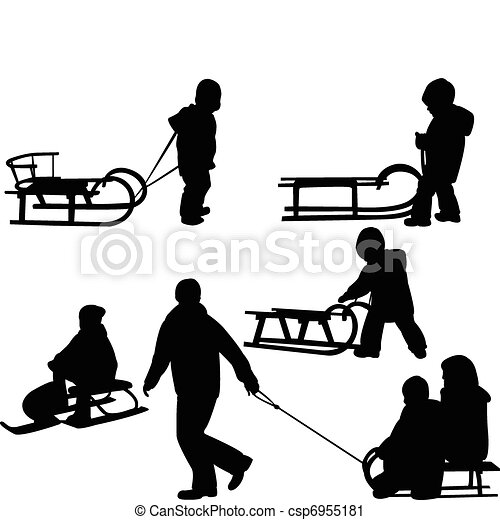 enfants, sledding - csp6955181