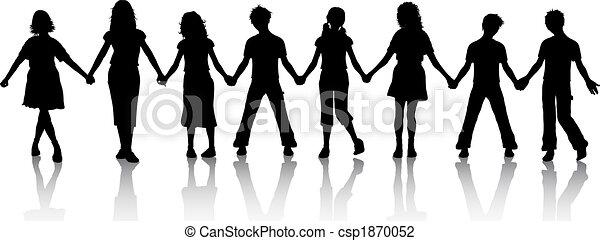 enfants tenant mains - csp1870052