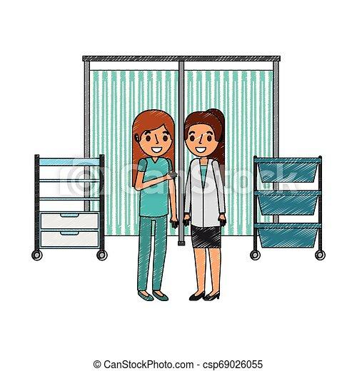 enfermeira, consulta, sala, médico feminino - csp69026055