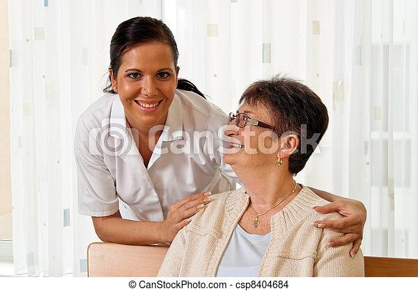 enfermeira, cuidado idoso - csp8404684