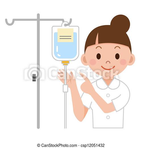 enfermeira, gotejamento iv, preparar - csp12051432