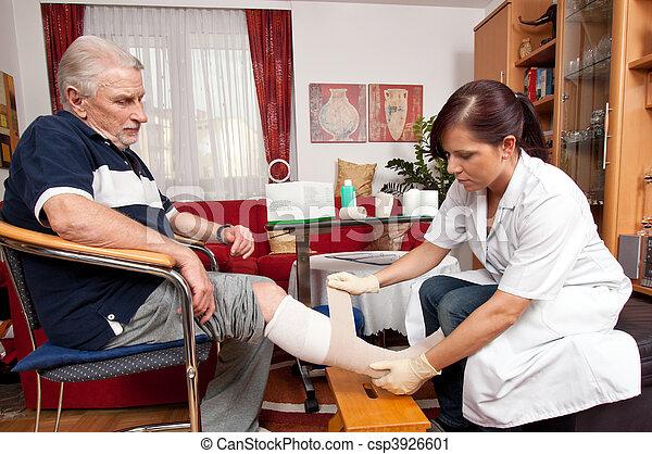 enfermeiras, ferida, cuidado - csp3926601