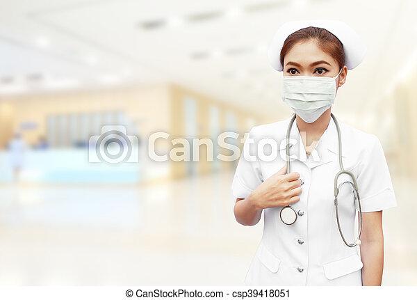 enfermera, estetoscopio, hospital - csp39418051