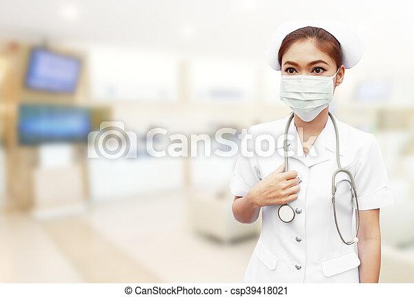 enfermera, estetoscopio, hospital - csp39418021