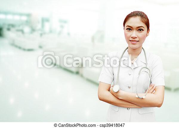 enfermera, estetoscopio, hospital - csp39418047