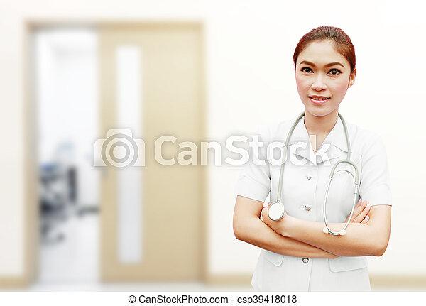enfermera, estetoscopio, hospital - csp39418018
