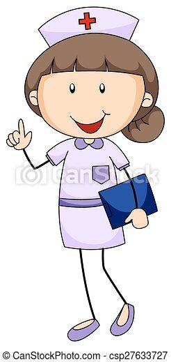 Hembra Uniforme Primer Plano Tenencia Enfermera Carpeta
