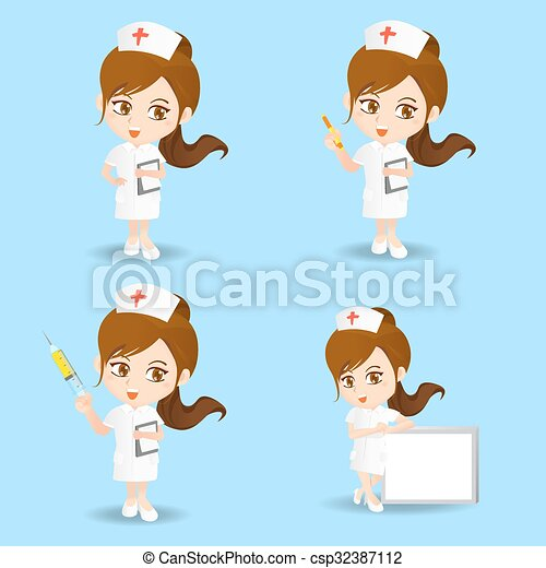 Mujer enfermera de dibujos animados - csp32387112