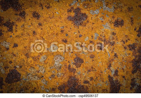 enferrujado, manchado, grunge, ferro, textura - csp49506137