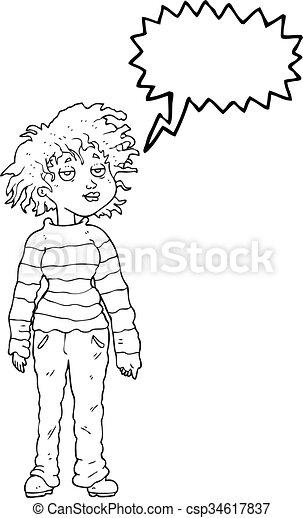 La caricatura de burbujas de habla relajada, chica - csp34617837