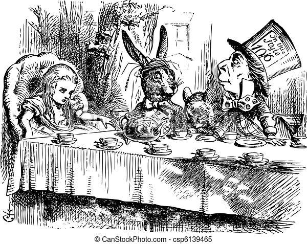 La fiesta del té de los Sombrereros Locos, Alice en Wonderland original vintage - csp6139465
