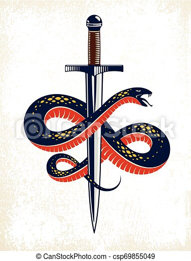 Serpiente y Daga, Serpiente envuelve un tatuaje antiguo vector de espada, dios romano Mercury, suerte y engaño, logotipo alegórico o símbolo antiguo. - csp69855049
