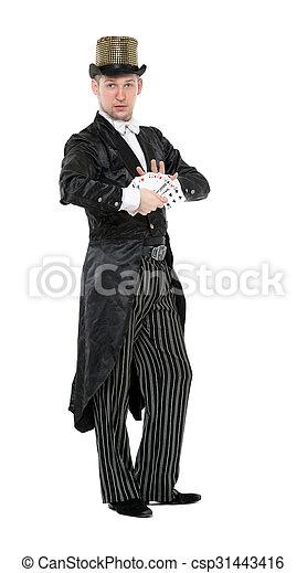 Ilusionista muestra trucos con cartas - csp31443416