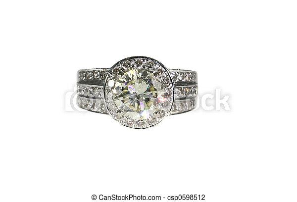 engagement, or, diamant, platine, bande mariage, anneau, blanc - csp0598512