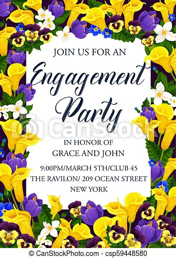 Engagement party invitation with flower frame. Engagement ceremony ...