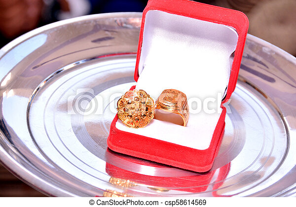 Engagement ring in the Red shiny box - csp58614569