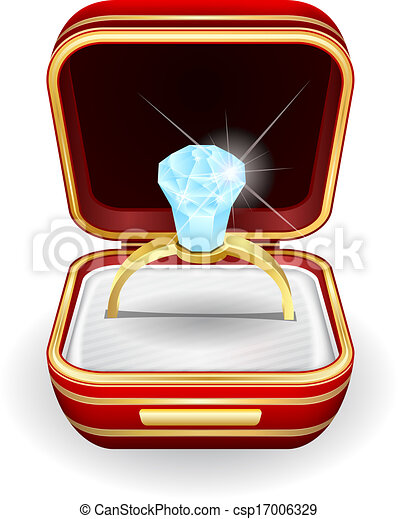 Vector Illustration Engagement Rings In Gift Box