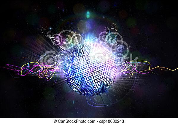 engendré, disco, digitalement, balle - csp18680243