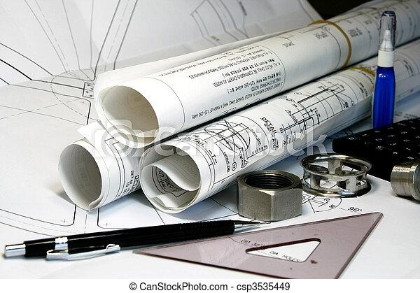 engenharia, desenho, mecânico - csp3535449