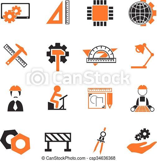 engenharia, jogo, ícones - csp34636368