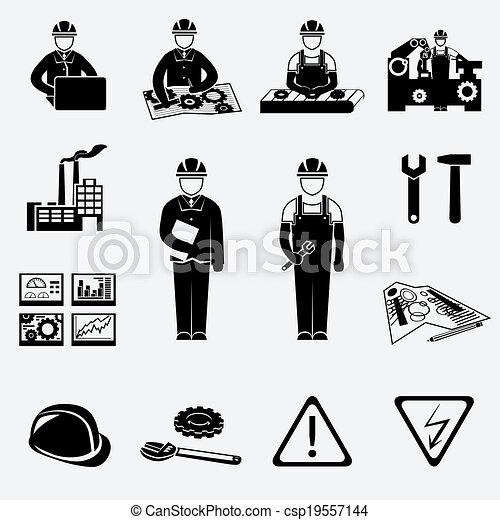 engenharia, jogo, ícones - csp19557144