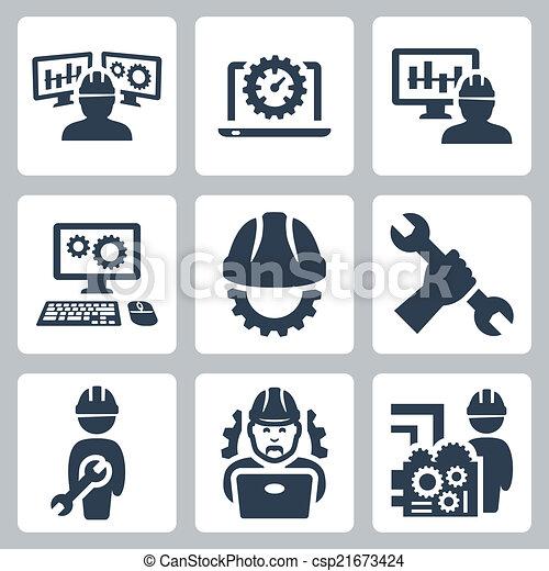 engenharia, vetorial, jogo, ícones - csp21673424
