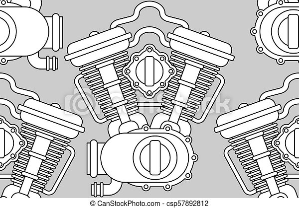 Engine Bike Pattern Seamless Motor Motorcycle Background Vector