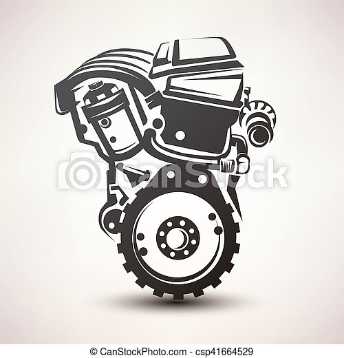 Engine Car Symbol Stylized Vector Silhouette Icon
