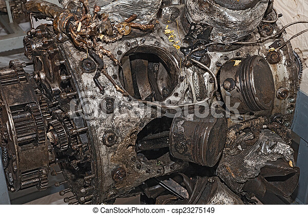 engine destroyed of an old military aircraft - csp23275149