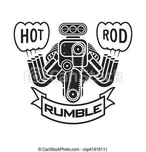 engine hot rod muscle car speedster logo t-shirt poster banner vector - csp41616111