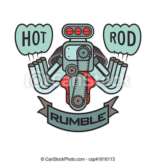engine hot rod muscle car speedster logo t-shirt poster banner vector - csp41616113