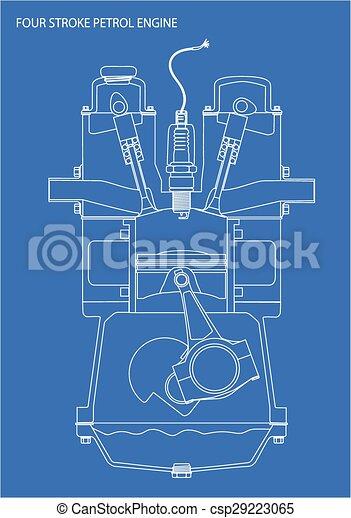 Engine line drawing blueprint a four stroke petrol engine clip engine line drawing blueprint csp29223065 malvernweather Choice Image