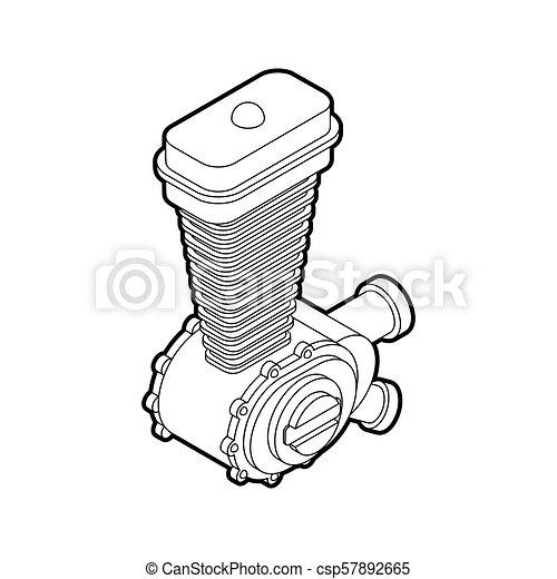 Engine Racing Isometric Motor Motorcycle Isolated Vector Illustration
