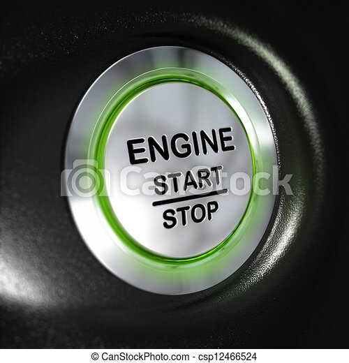 Engine Start and Stop Button, Automobile Starter - csp12466524