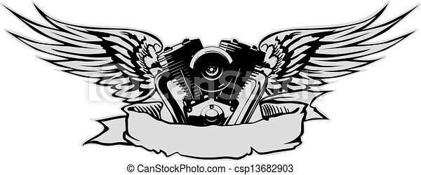 engine with wings at gray basis - csp13682903