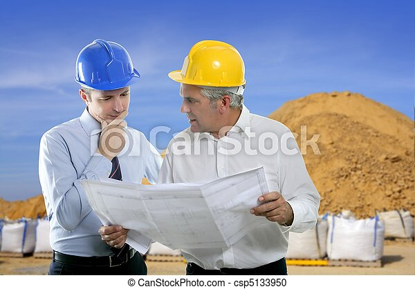 engineer architect two expertise team plan quarry - csp5133950