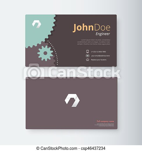 Engineer business card template gear business card vector stock reheart Images