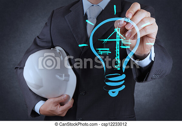 engineer drawing lightbulb and construction - csp12233012