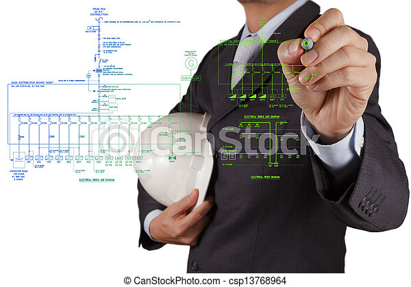 engineer draws an electronic single line and fire alarm riser schematic diagram - csp13768964
