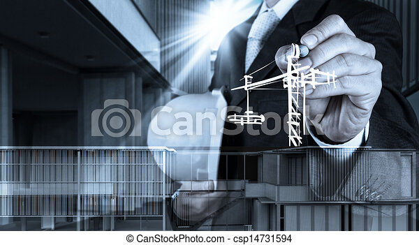 engineer hand working with new computer interface show building development concept - csp14731594