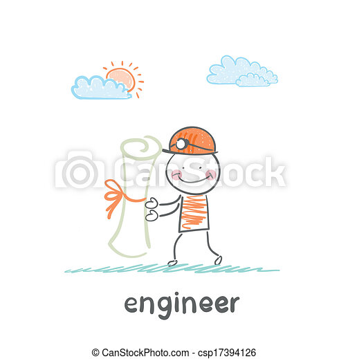 engineer holding a paper - csp17394126
