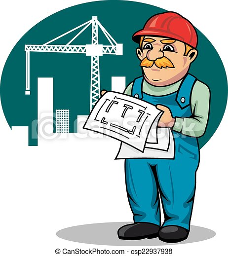 engineer on construction site engineer with building scheme rh canstockphoto com clip art sites free clip art sites free