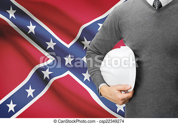 Engineer with flag on background series - - csp22349274