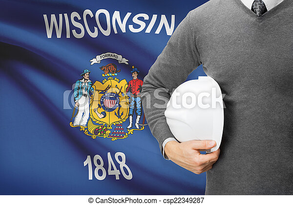 Engineer with flag on background series - Wisconsin - csp22349287
